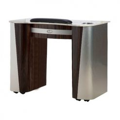 Custom Made Nail Table T 102 (Aluminum / Cherry)