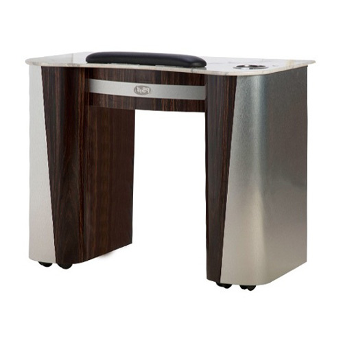 Custom Made Nail Table T 102 (Aluminum / Cherry)