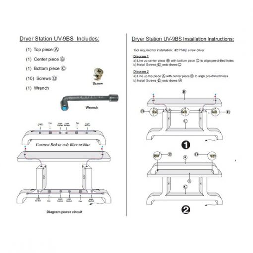 Nail Dryer Station UV 9BS (Burgundy / Aluminum)