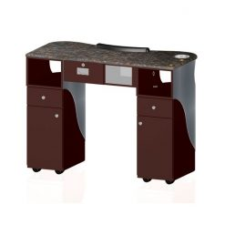 Custom Made Nail Table T 105G (Aluminum / Burgundy)