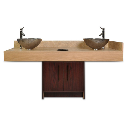 Contemporary Island Double Sink with Glass Bowl