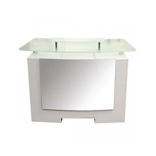 Glass Top Reception Table White