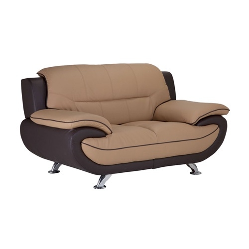 Leather Loveseat S02 (Cappuccino / Brown)