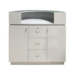 Reception Desk C-48P (Beige Aluminum Black PU) 010