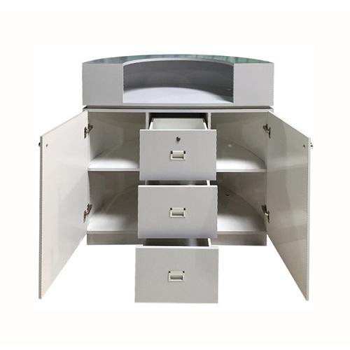 Reception Desk C-48P (Beige/ Aluminum/ Black PU)
