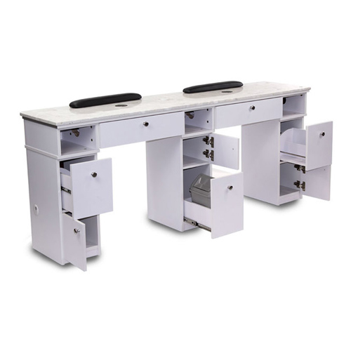 White Sonoma Double Manicure Table with Exhaust