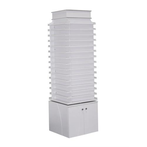 White Sonoma Double Shelves Powder Center with 360 Degree Swivel
