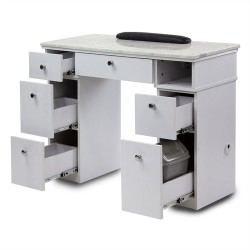 White Sonoma Manicure Table with Exhaust - a1