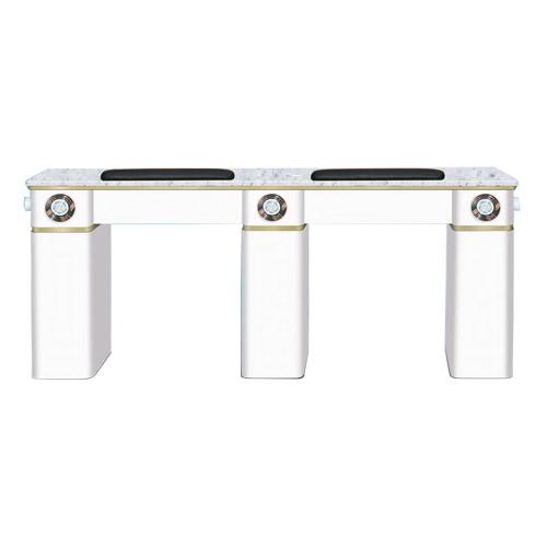White Verona Double Manicure Table