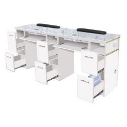 White Verona Double Manicure Table - 2