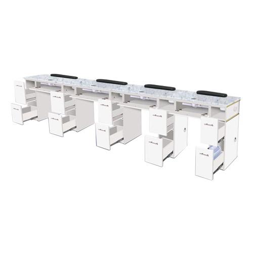 White Verona Quadruple Manicure Table – 4 Units