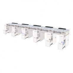 White Verona Quintupe Manicure Table – 5 Units